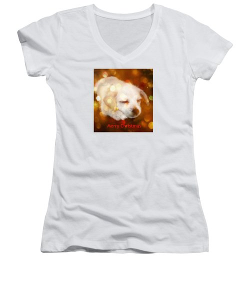 Christmas Puppy Women's V-Neck T-Shirt (Junior Cut) by Amanda Eberly-Kudamik
