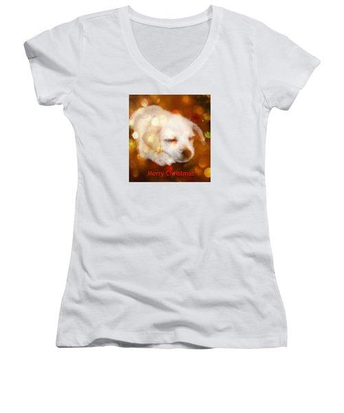 Christmas Puppy Women's V-Neck T-Shirt (Junior Cut)