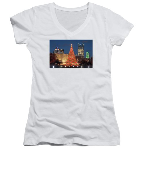 Women's V-Neck T-Shirt (Junior Cut) featuring the photograph Christmas  Season In Pittsburgh  by Emmanuel Panagiotakis