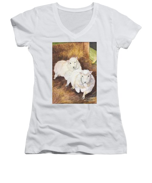 Christmas Sheep Women's V-Neck T-Shirt (Junior Cut) by Lucia Grilletto