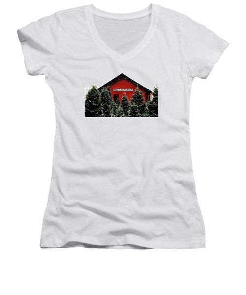 Christmas Town Women's V-Neck T-Shirt (Junior Cut) by Dale R Carlson
