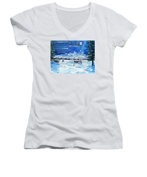 Christmas Wonderland Women's V-Neck T-Shirt (Junior Cut) by Shana Rowe Jackson