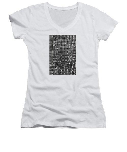 Women's V-Neck T-Shirt (Junior Cut) featuring the photograph Chromosome 22 Bw by Diane E Berry