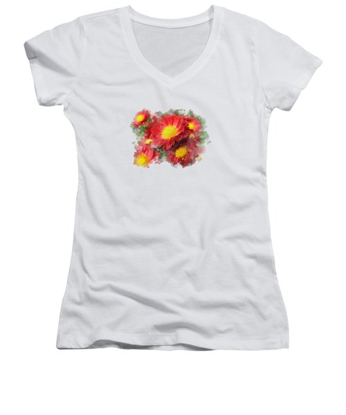 Chrysanthemum Watercolor Art Women's V-Neck