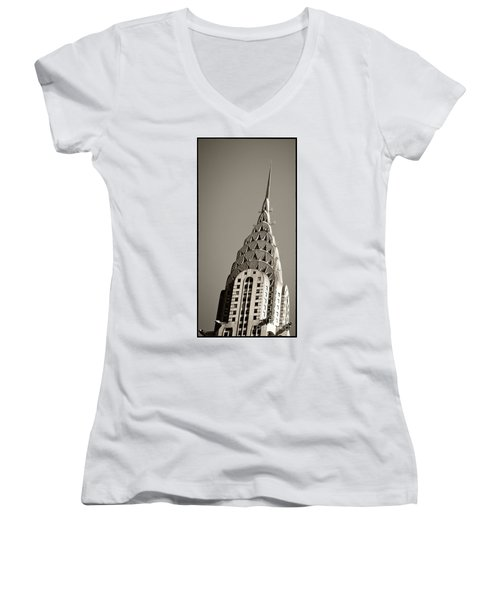 Women's V-Neck featuring the photograph Chrysler Building New York City by Juergen Held