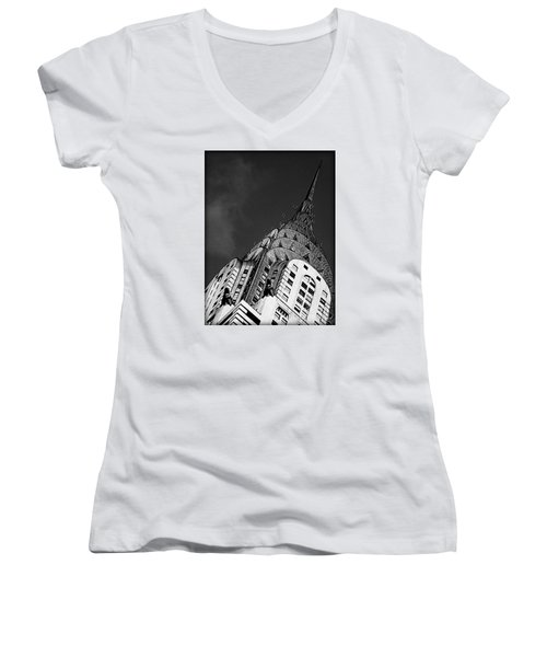 Chrysler Building's Apex Women's V-Neck T-Shirt