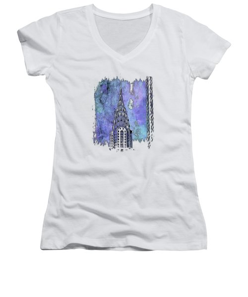 Chrysler Spire Berry Blues 3 Dimensional Women's V-Neck T-Shirt (Junior Cut) by Di Designs