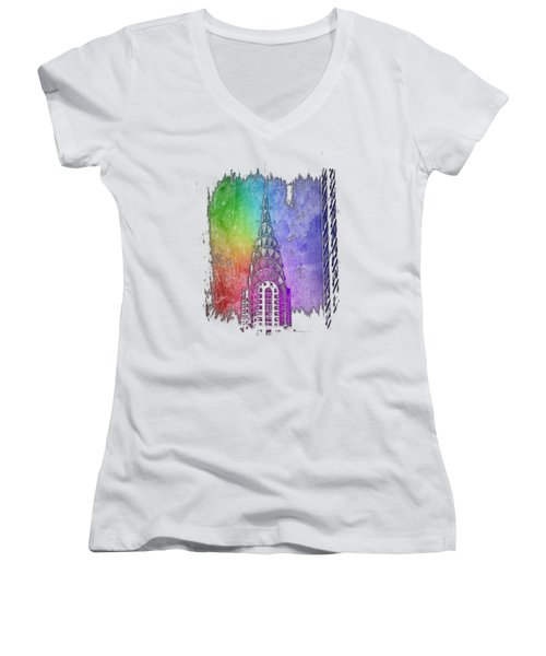 Chrysler Spire Cool Rainbow 3 Dimensional Women's V-Neck T-Shirt (Junior Cut) by Di Designs