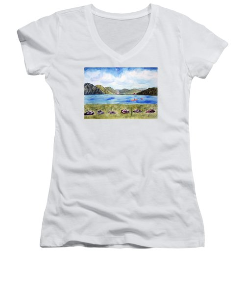 Women's V-Neck T-Shirt (Junior Cut) featuring the painting Chrystal Lake  Barton Vt  by Donna Walsh