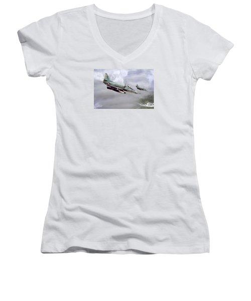 Chu Lai Skyhawks Women's V-Neck T-Shirt (Junior Cut) by Peter Chilelli