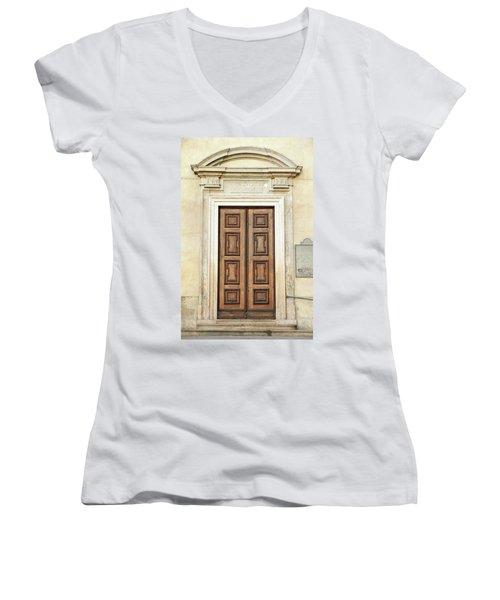 Church Door Women's V-Neck T-Shirt (Junior Cut) by Valentino Visentini