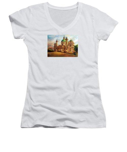 Church Women's V-Neck T-Shirt (Junior Cut) by Jieming Wang