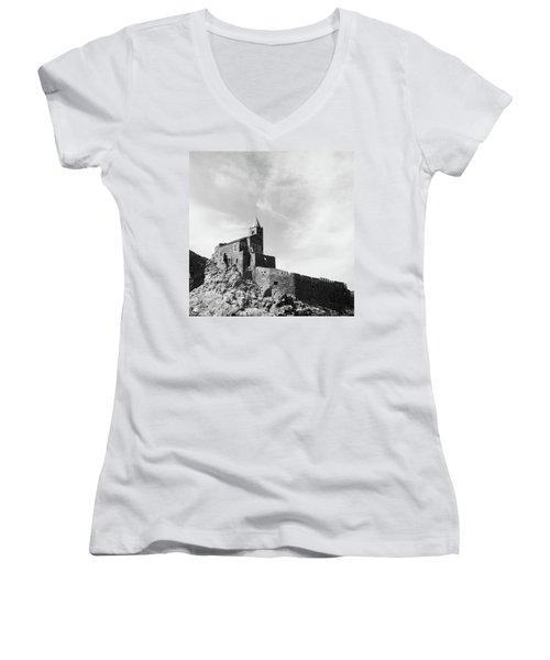 Church Of San Pietro II Women's V-Neck T-Shirt (Junior Cut) by Joseph Westrupp