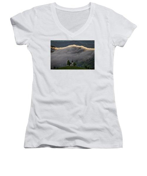 Women's V-Neck T-Shirt featuring the photograph Church Of St. Thomas - Slovenia by Stuart Litoff