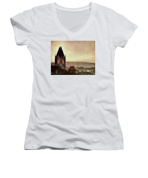 Church Steeple 4 For Cup Women's V-Neck