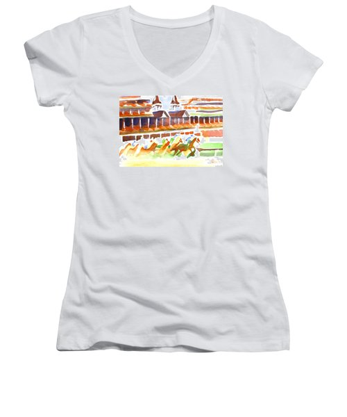 Churchill Downs Watercolor Women's V-Neck (Athletic Fit)