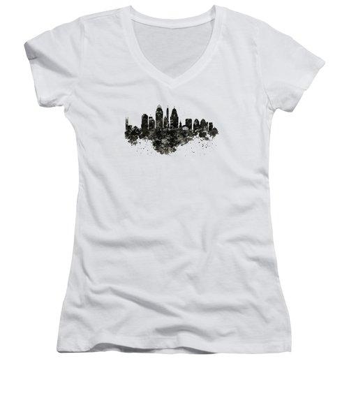 Cincinnati Skyline Black And White Women's V-Neck (Athletic Fit)