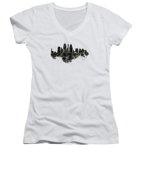 Cincinnati Skyline Black And White Women's V-Neck (Athletic Fit)