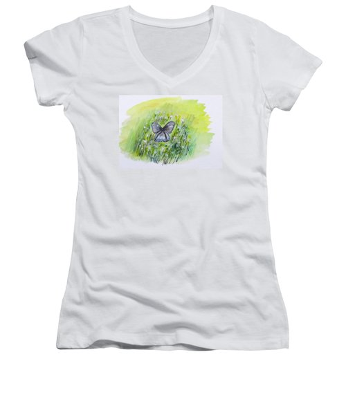 Cindy's Butterfly Women's V-Neck T-Shirt (Junior Cut) by Clyde J Kell