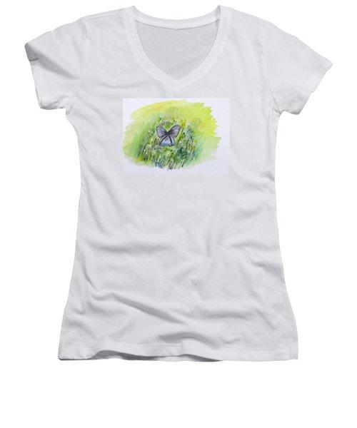 Cindy's Butterfly Women's V-Neck T-Shirt (Junior Cut)