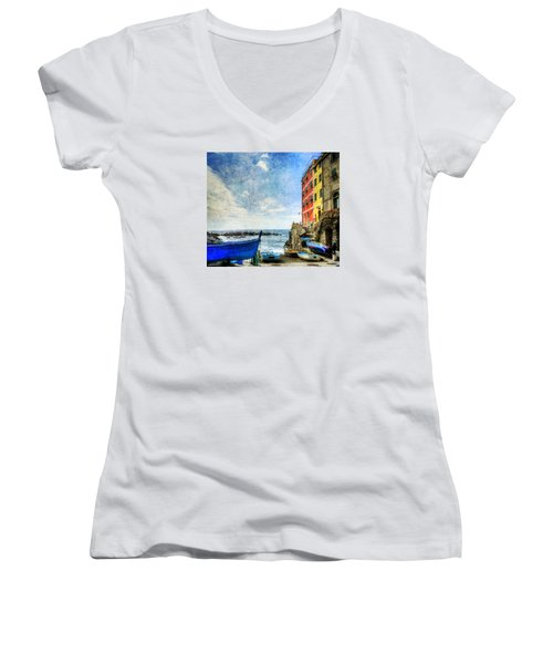 Cinque Terre - Little Port Of Riomaggiore - Vintage Version Women's V-Neck T-Shirt