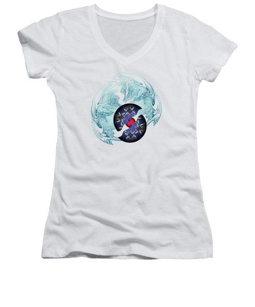 Circularium No 2635 Women's V-Neck T-Shirt (Junior Cut) by Alan Bennington