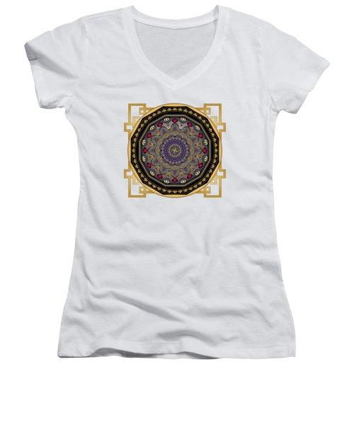 Circularium No 2652 Women's V-Neck T-Shirt (Junior Cut) by Alan Bennington