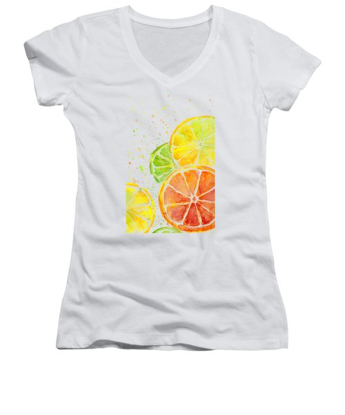 Citrus Fruit Watercolor Women's V-Neck T-Shirt (Junior Cut) by Olga Shvartsur