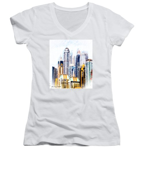 City Abstract Women's V-Neck (Athletic Fit)