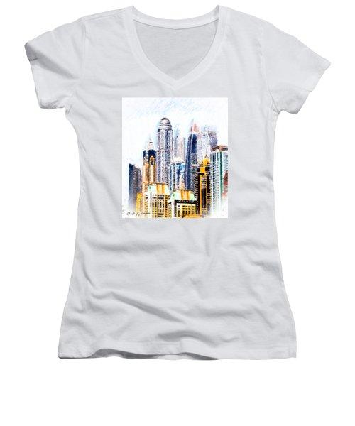 City Abstract Women's V-Neck