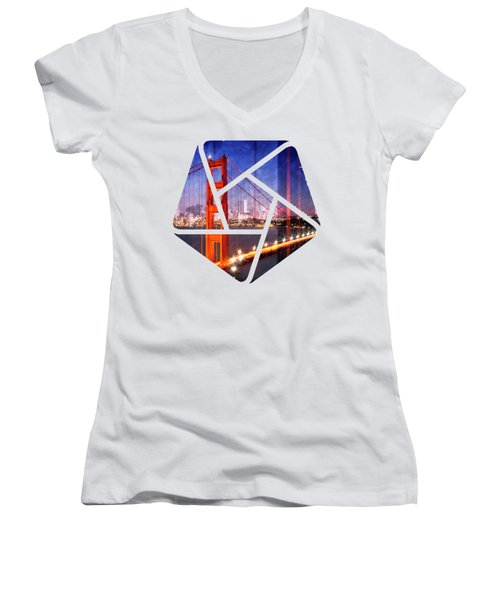 City Art Golden Gate Bridge Composing Women's V-Neck (Athletic Fit)