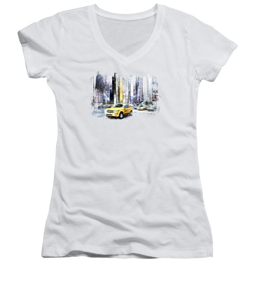 City-art Times Square II Women's V-Neck T-Shirt (Junior Cut) by Melanie Viola