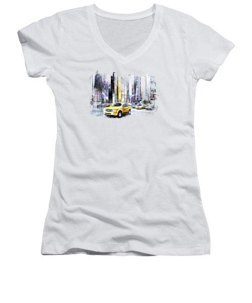 City-art Times Square II Women's V-Neck T-Shirt (Junior Cut) by Melanie Viola
