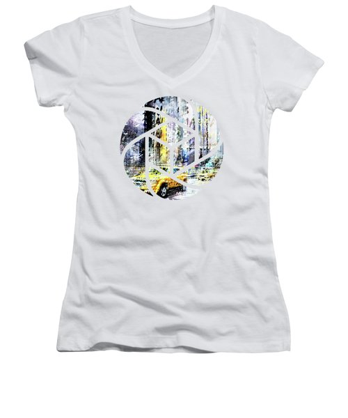 City-art Times Square Streetscene Women's V-Neck T-Shirt (Junior Cut) by Melanie Viola