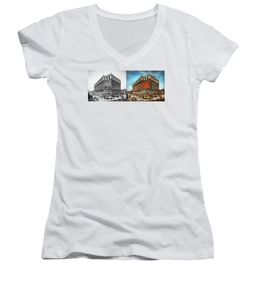Women's V-Neck T-Shirt featuring the photograph City - Ny New York - The Nation's Largest Dept Store 1908 - Side by Mike Savad