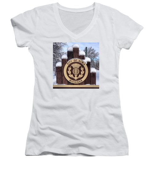 City Of Alma Michigan Snow Women's V-Neck (Athletic Fit)