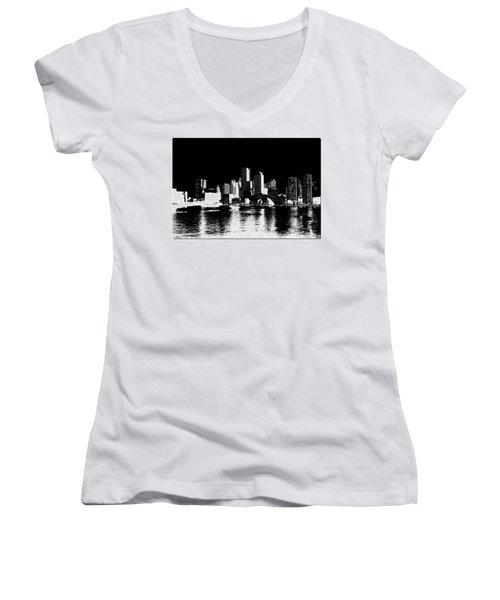 City Of Boston Skyline   Women's V-Neck T-Shirt (Junior Cut) by Enki Art