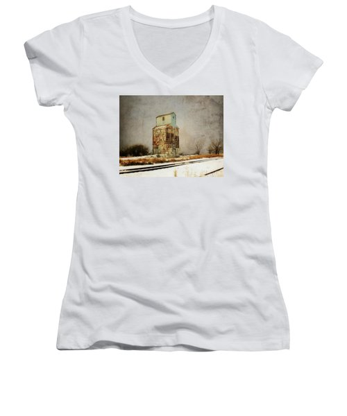 Women's V-Neck T-Shirt (Junior Cut) featuring the photograph Clare Elevator by Julie Hamilton