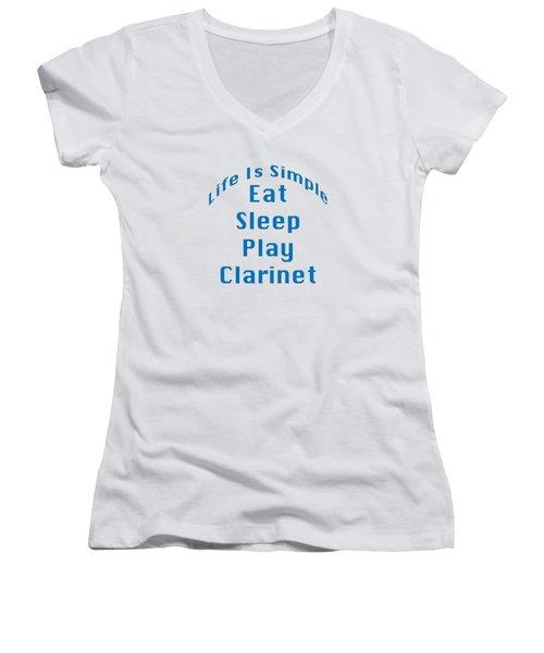 Clarinet Eat Sleep Play Clarinet 5512.02 Women's V-Neck T-Shirt (Junior Cut) by M K  Miller
