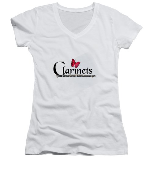 Clarinets And Butterfly Women's V-Neck T-Shirt (Junior Cut) by M K  Miller