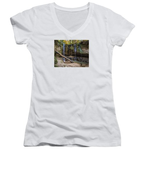 Clark Creek Waterfall No. 1 Women's V-Neck T-Shirt (Junior Cut) by Andy Crawford