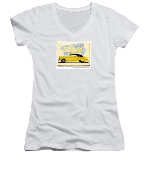 Classic Car Ads Women's V-Neck T-Shirt (Junior Cut) by Allen Beilschmidt