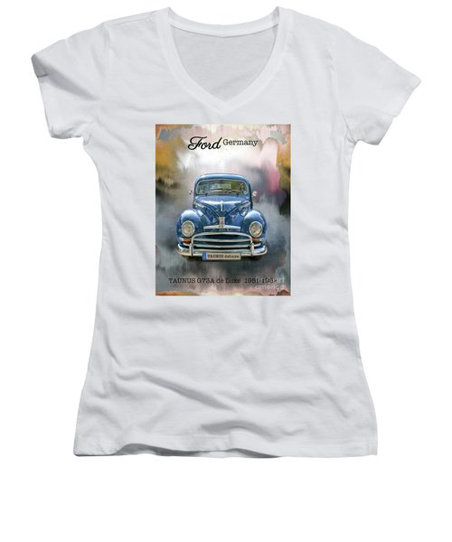 Classic Ford Taunus Deluxe Women's V-Neck (Athletic Fit)