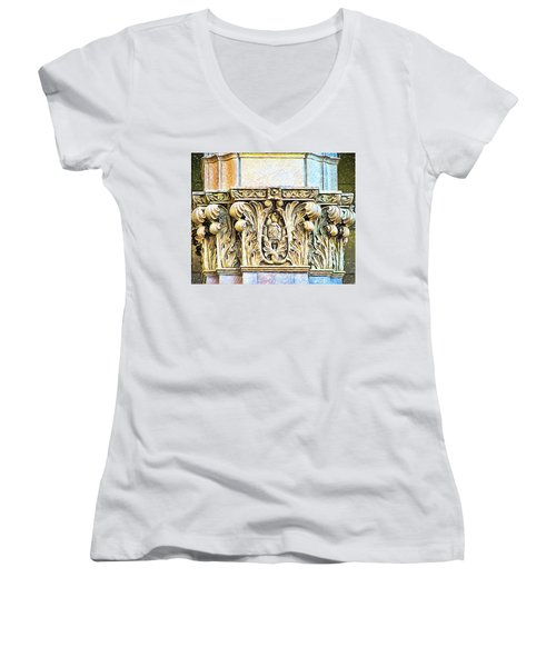 Women's V-Neck T-Shirt (Junior Cut) featuring the digital art Classic by Wendy J St Christopher