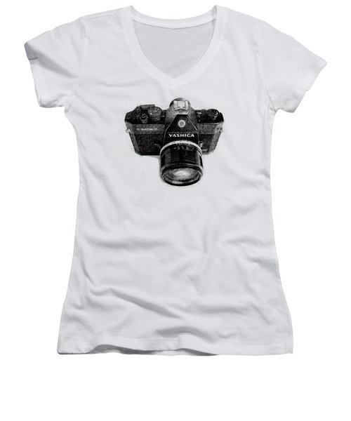 Women's V-Neck T-Shirt (Junior Cut) featuring the drawing Classic Yashica Slr Film Camera by Edward Fielding