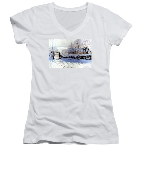 Claude Monet: The Magpie Women's V-Neck T-Shirt