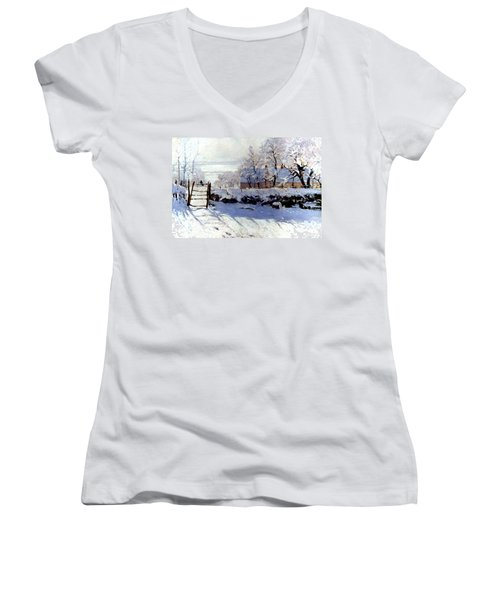 Claude Monet The Magpie - To License For Professional Use Visit Granger.com Women's V-Neck