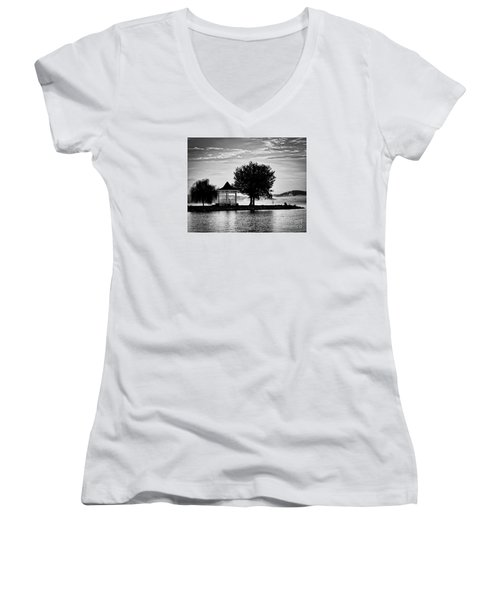 Claytor Lake Gazebo - Black And White Women's V-Neck (Athletic Fit)