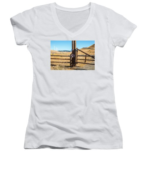 Clean Power And Old Ranch Gates Women's V-Neck