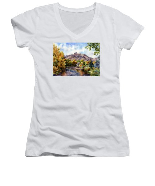 Clear Creek Women's V-Neck T-Shirt (Junior Cut) by Anne Gifford